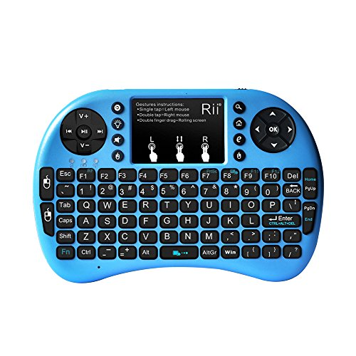 Rii i8+ Mini Wireless Keyboard with Touchpad Mouse, LED Backlit, Rechargeable Li-ion Battery-Blue (i8+B)