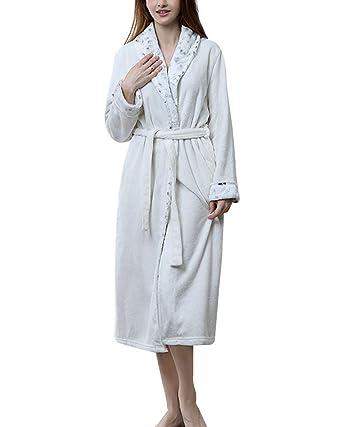 Unisex Bata hogar Franela Calientes Albornoz Invierno Batas Kimono Pijamas para Hombre y Mujer: Amazon.es: Ropa y accesorios