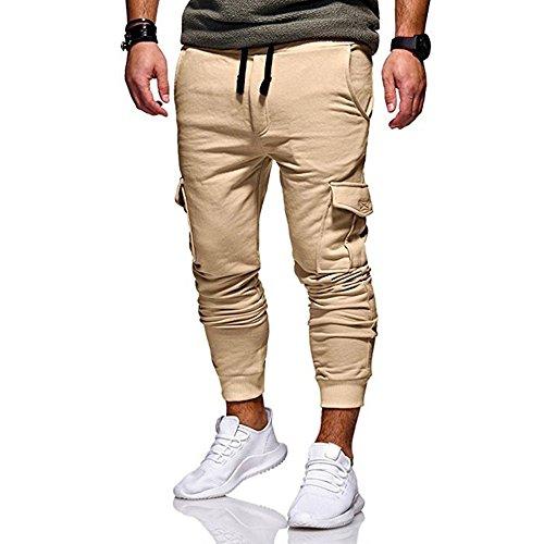 TIMEMEANS Fashion Men's Sport Jogging Fitness Pant Casual Loose Sweatpants Drawstring Pant Khaki
