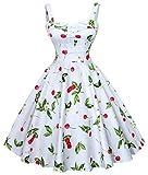 LECHEERS Womens 1950s Vintage Rockabilly Cute Cherry Swing Party Dress
