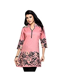1545 Designs Women's Plus Size Rose Silk Cotton Tunic Top Casual Dress