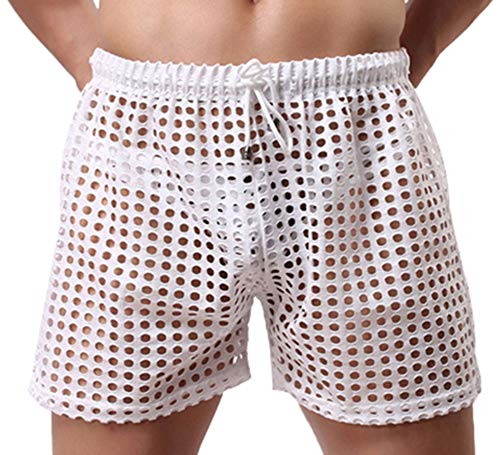 Linemoon Men's Mesh Shorts Sexy Lounge Hollow Boxer Underwear White, Small