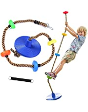 Climbing Rope, Disc Swing with Hanging Strap Kit, Tree Swing Seat, Swings Accessories for Outdoor Backyard Playground, Blue