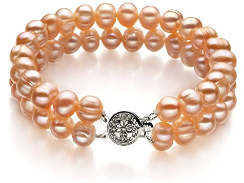 Evelina Pink 6-7mm Double Strand A Quality Freshwater Cultured Pearl Bracelet For Women-7 in length