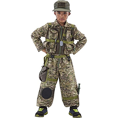 Teetots Special Forces Costume Size 3-4 w/ Compass, Walkie-Talkie, Toy Knife, and Binoculars (Army Costume For Kids)