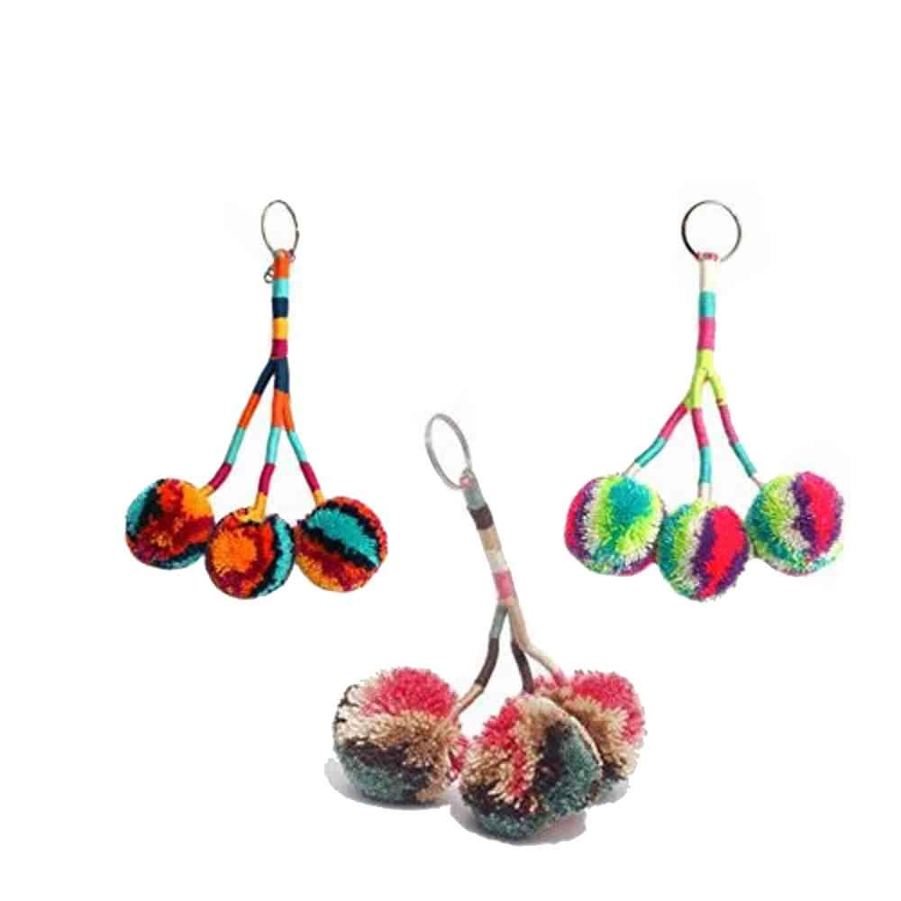 Assorted (3) Wayuu Pom Pom Keychains - 94