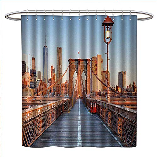 Anniutwo City Shower Curtains Waterproof New York Skyline Closeup Brooklyn Bridge in Manhattan Over Hudson River Bathroom Decor Sets with Hooks W69 x L75 Orange Pale Blue -
