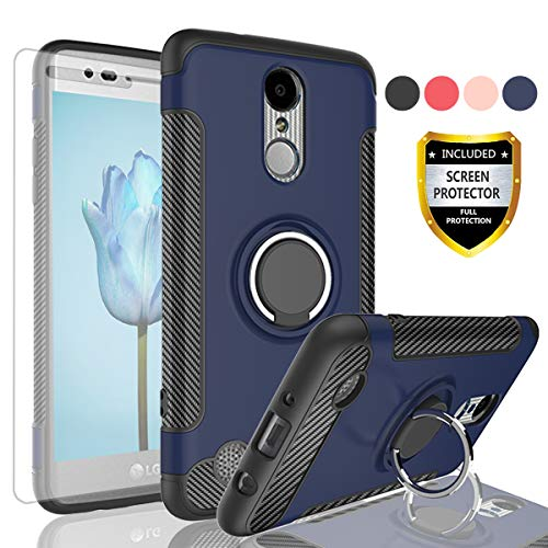 AYMECL LG Aristo Case,LG K8 2017 Case,Risio 2/Rebel 2 LTE/LG Phoenix 3/LG  Fortune Case with HD Screen Protector, Rotating Ring Holder Dual Layer  Shock