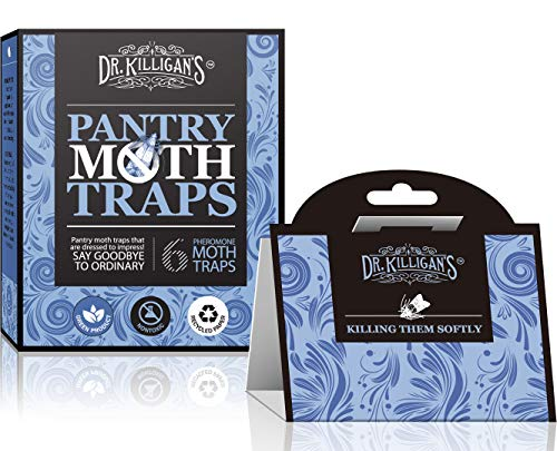 Dr. Killigans Pantry Moth Traps   Premium Quality Pheromone Attractant   Safe and Non-Toxic with No Insecticides (6, Blue Traps)