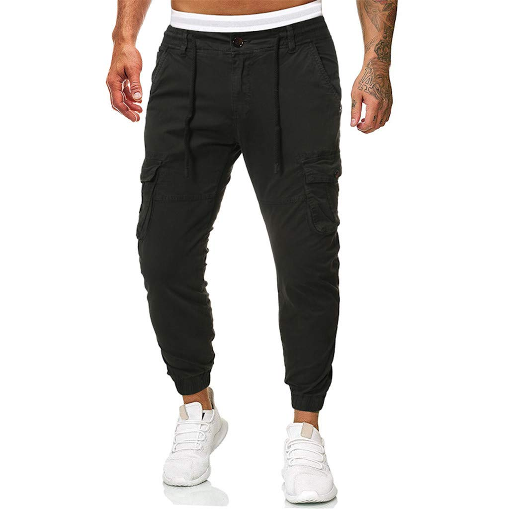 TIFENNY Men's Sports Trousers Casual Pure Color Outdoors Sweatpants Pocket Beach Work Trouses Cargo Pants by TIFENNY_Shirts