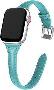 MARGE PLUS Compatible Apple Watch Band 38mm 40mm Women, Slim Genuine Leather Watch Strap Replacement for iWatch SE Series 6 5 4 3 2 1, (Peacock Blue Band paired with Sliver Adapter)
