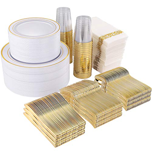 800 Piece Gold Dinnerware Set-200 Gold Plastic Plates-300 Gold Disposable Silverware Set-100 Cups-100 Linen Like Napkins-100 Paper Straws, Gold Tableware Set for Party or Wedding