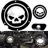 Motorcycle Black Chrome Skull Timing Accessories Engine Derby Timer Cover For Harley Sportster Iron XL 883 1200 04-14 (Pack of 3pcs)
