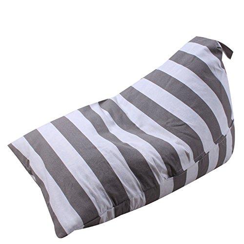 Uozzi Bedding Stuffed Animal & Toys Storage Bean Bag Pouf - Perfect Organization for Extra Toys, Blanket, Towels, clothes, Pillows - Premium Quality Cotton Canvas(Gray striped, 659555cm) by Uozzi Bedding