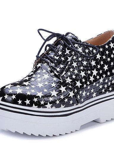 ZQ Zapatos de mujer-Tacón Cuña-Cuñas-Tacones-Casual-Semicuero-Negro / Blanco , white-us10.5 / eu42 / uk8.5 / cn43 , white-us10.5 / eu42 / uk8.5 / cn43 white-us8.5 / eu39 / uk6.5 / cn40