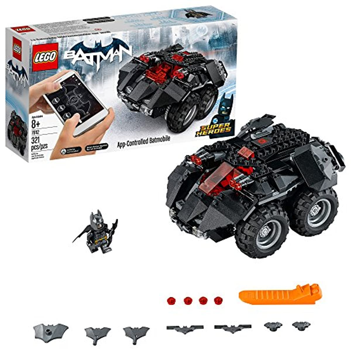 [레고 배트맨] LEGO DC Super Heroes App-controlled Batmobile 76112 Remote Control (rc) Batman Car, Best-Seller Building Kit and Toy for Boys (321 Piece)