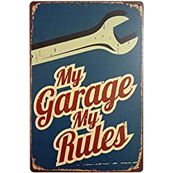 ERLOOD My Garage My Rules Retro Vintage Decor Metal Tin Sign 12 X 8 Inches