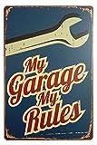 ERLOOD My Garage My Rules Retro Vintage Decor Metal Tin Sign 12 X 8 Inches