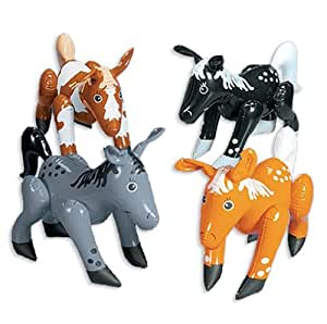 Realistic Inflatable Horse Pony Assortment (12 pc) [Toy]