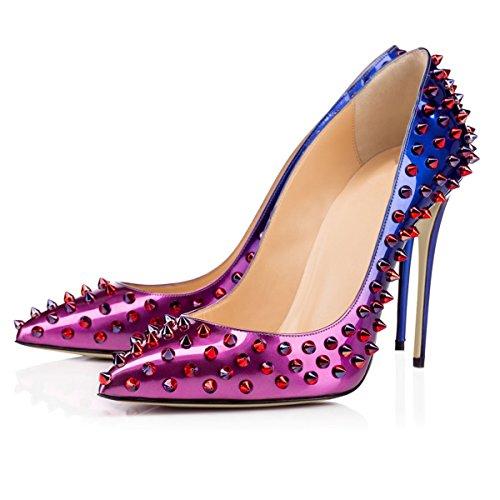 Joogo Femmes Bout Pointu Dorsay Talons Hauts Glisser Sur Stiletto Pompes Formelles Robe Chaussures Violet
