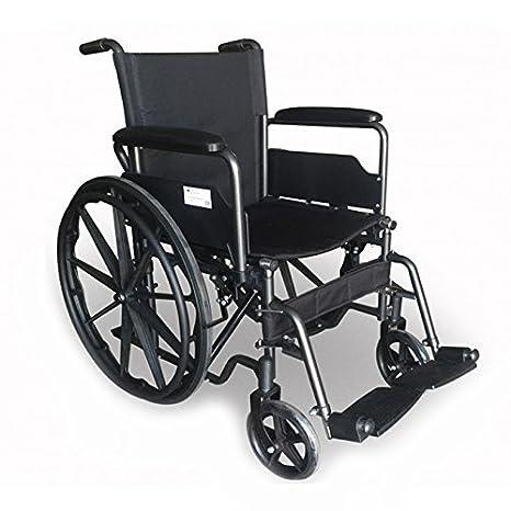 Mobiclinic, Silla de ruedas premium, Plegable, Ruedas traseras grandes extraíbles, Reposapiés y reposabrazos, Asiento de 46 centímetros, S220 Sevilla