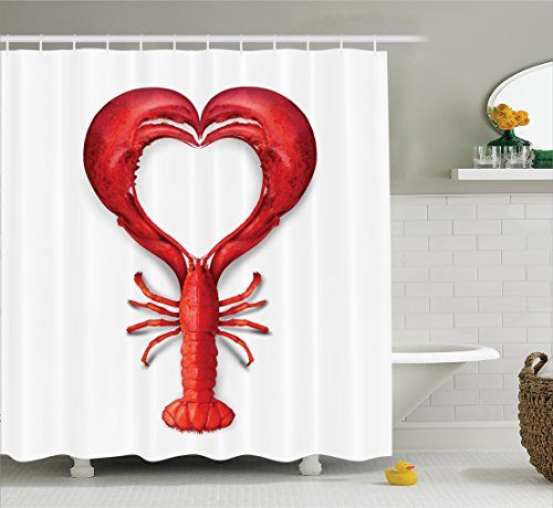 Sea Animals Decor Shower Curtain Set By Ambesonne, A Boiled Lobster Shaped as A Heart Symbol Seafood Love Valentine's Restaurant Menu Art, Bathroom Accessories, 69W X 70L Inches, Red (Lobster Red Decor)