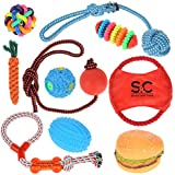 Stone and Clark Puppy Toy Set 10 Piece Dog Chew Toy, Rope, Puppy Teething Rings, Knot Toy and Throwing Disc Variety Pack. Assorted Durable Interactive Puppy toys for teething and Fun Squeaky Chew Toy.