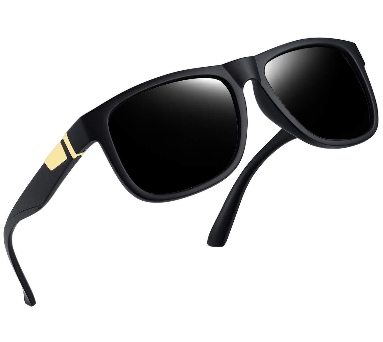 a320dd9af9 Unisex Polarized Sunglasses Men Women Square Frame Sun Glasses 100% UV  Protection (Matte Black