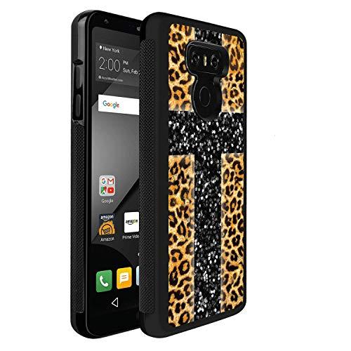 LG G6 Case,Flexible Soft TPU Cover Shell,Slim Silicone Black Rubber Non-Slip Durable Design Protective Phone Case for LG G6 -Leopard Cross (Stone Bezel Black Cross)