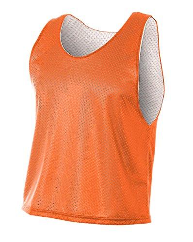A4 Mens Lacrosse Reversible Practice Jersey, Large, Orange/White