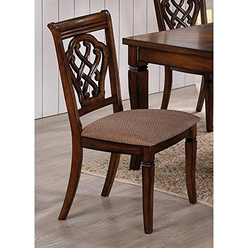Coaster Home Furnishings  Hayden Modern Transitional West Indies Style Upholstered Seat Cushion Dining Side Chair ( Set of 2 ) - Antique - Oak Antique Chair High