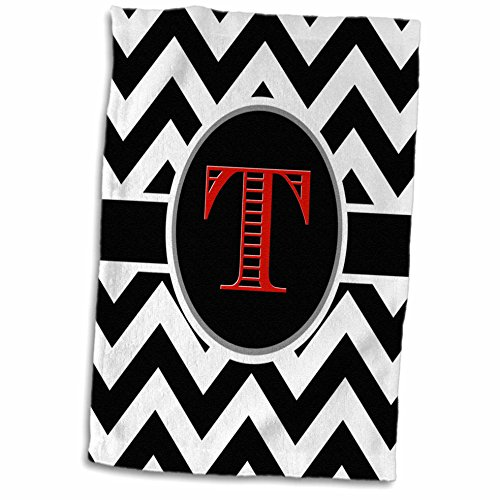 (3D Rose Black and White Chevron Monogram Red Initial T Hand Towel, 15