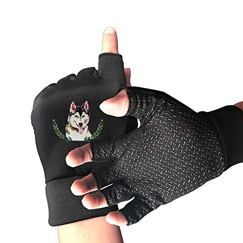 Buecoutes Funny Dog Hakis Sports Half Finger Non-Slip Gloves for Outdoor, Cycling, Roller Skating and Climbing in Summer, Black