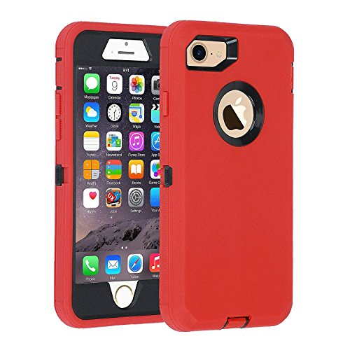 smartelf iPhone 7/8 case, [HEAVY DUTY] 3 in 1 Built-in Screen Protector Protective Cover Dust-Proof Shockproof Drop-Proof Scratch-resistant Hard Shell for Apple iPhone 7/8 4.7 inch-Red/Black