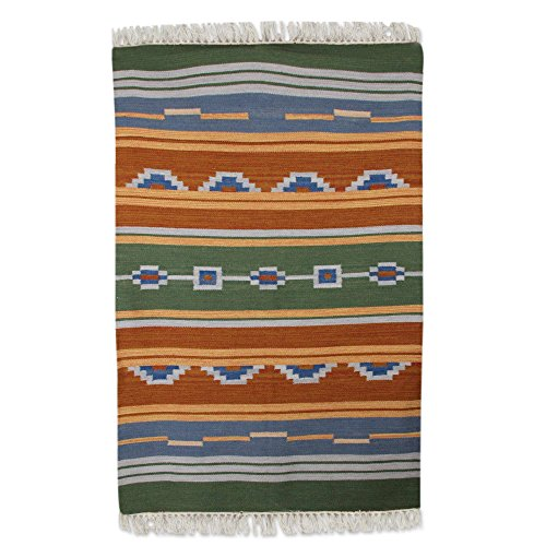 NOVICA Green Orange Wool Hand Woven Area Rug (4x6), 'Desert Dunes' by NOVICA