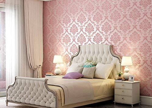 Junewind 3D Three-Dimensional Wallpaper Self-Adhesive Bedroom Warm Waterproof PVC Decorative Dormitory Background Wall - Pink (0.6 10M)