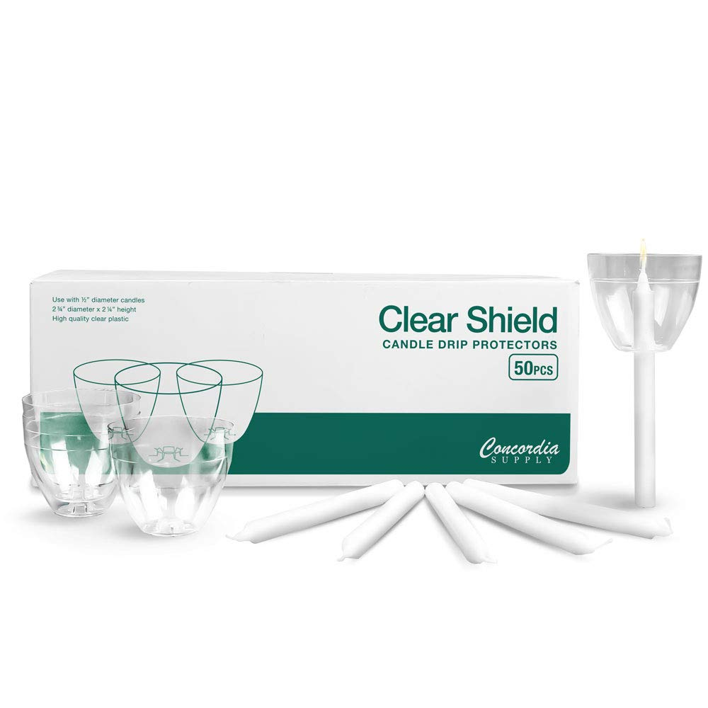 Concordia Supply Candlelight Service Set of 250 Vigil Candles 4.25'' x 1/2'' and Clear Plastic Shields by Concordia Supply (Image #1)