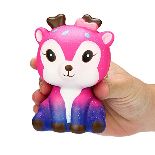 Christmas Best Toy Gift!!!Kacowpper Kawaii Cartoon Galaxy Deer Squishy Slow Rising Cream Scented Stress Reliever Toy ()