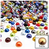 The Crafts Outlet 144-Piece Pearl Finish Half Dome Round Beads, 5mm, Multi Mix