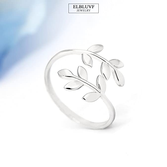 ELBLUVF 18k Stainless Steel Silver Rose Gold Plated Leaves Leaf Laurel Adjustable Branch Ring Jewelry