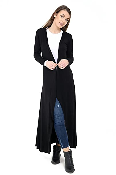 d9d1602551f Ladies Jersey Panelled Long Sleeve Maxi Longline Cardigan US Size 6 ...