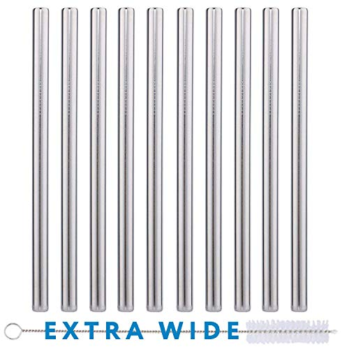 10 Pack Boba Straws In Stainless Steel - Reusable Metal Straws Best For Drinking Bubble/Boba Tea, Smoothies, Shakes - Extra Wide 0.5 And 8.5 Long - Comes With Cotton Storage Bag And Cleaning Rod