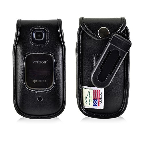 Belt Clip Oem Cellular Accessory (Kyocera Cadence Flip Phone Fitted Case Turtleback Made in USA (Black Leather / Rotating Removable Clip))