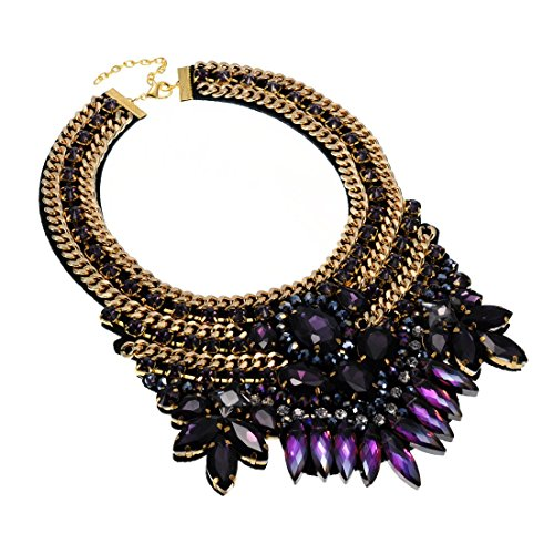 Fashion Gold Tone Chain Purple Glass Crystal Charm Chunky Choker Statement Bib Necklace (Tone Necklace Gold Purple)
