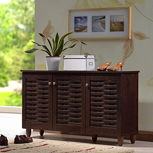 Finish Shoe Cabinet Triple - Rhodes Dark Brown Entryway Shoe Organizer Cabinet Furniture with 3 Doors and 6 storage
