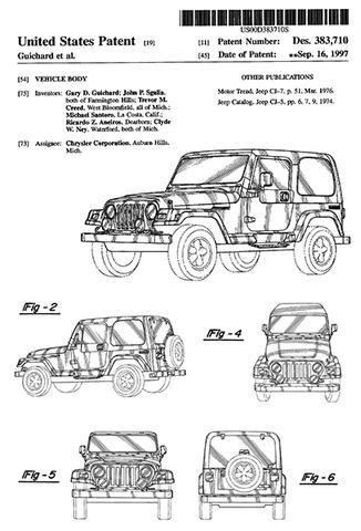 1997 - Jeep CJ-5 CJ-7 Wrangler - Vehicle Body - Chrysler - G. Guichard - Patent Art Poster