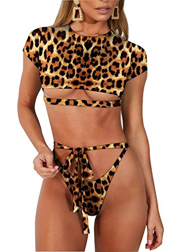 ALLureLove Swimsuits Bathing Suits Sexy Womens Short Sleeve Cut Out High Waist Bottom Tie Front Two Piece Thong Bikini Set (Large, A-Leopard Print)