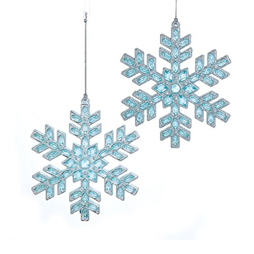 Silver and Ice Blue Gems Snowflake Christmas Ornament Set of 2 | ChristmasTablescapeDecor.com