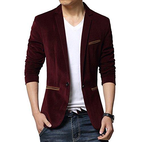 Frlensalic Men's Velvet Formal Style One Button Pocket Blazers and Suit Jackets