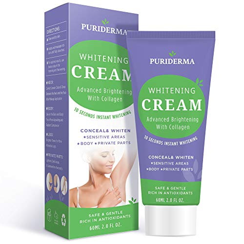 Puriderma All-Body Whitening Cream, Advanced Brightening With Collagen, Whitens and Lightens Discolored and Damaged Skin - for Underarm, Legs, Knees, Bikini Line (Bleaching Cream)